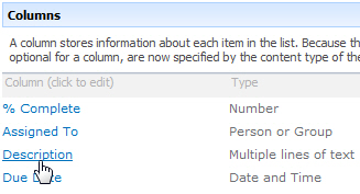 Columns section of list settings