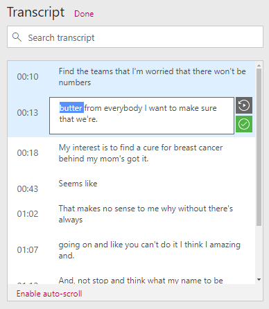 Edit transcript example