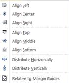Align object options in Publisher 2010