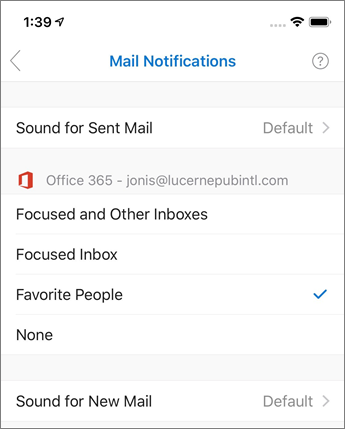 Turning on or off notifications in Outlook mobile