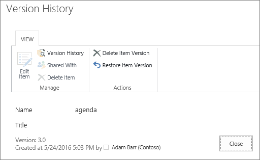 Version history view dialog box with earlier file