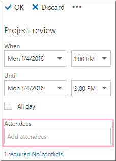 Details pane showing the Attendees box to use with the Scheduling Assistant