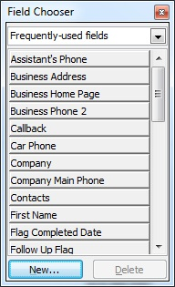 Contacts Field Chooser dialog box