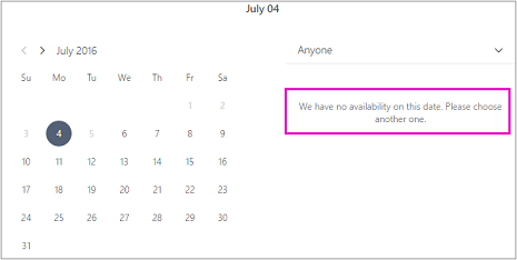 When the office is closed customers will see a message that says no availability. Choose another date.