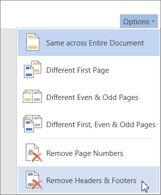 Remove Headers & Footers option