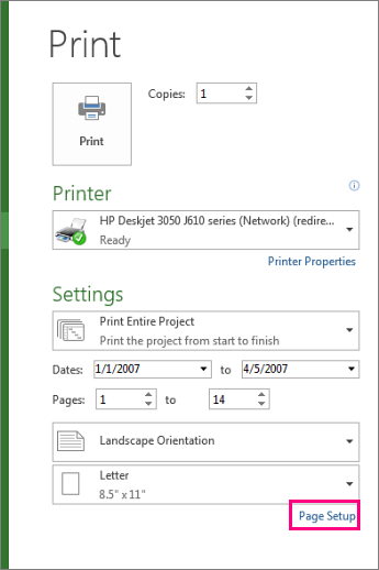 page setup dialog for excluding legend from print
