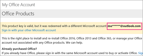 My Office Account page showing partial Microsoft account