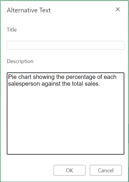 Alternative Text dialog box in Excel for the web.