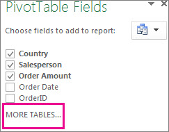 Add more Tables in the Field List