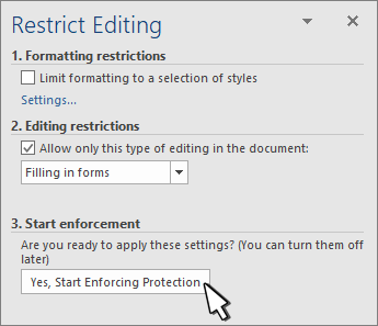 Restrict editing panel