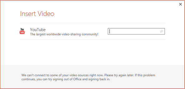 This is the Insert Online Video dialog box in PowerPoint 2013.