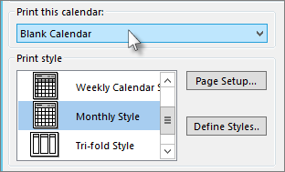 Select the calendar name you want to print
