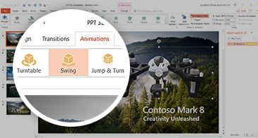 A screenshot shows the Animations tab with the Swing 3D animation selected in PowerPoint.