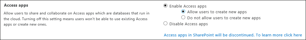 Screenshot of Access app settings on SharePoint Admin Center page