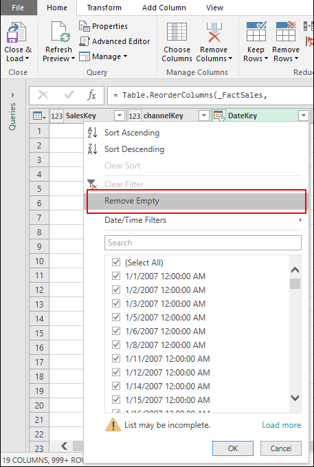 Pwer Query - Remove blanks via Column Filter menu