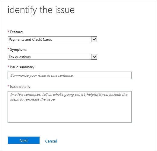 "Screenshot of the ""identify the issue"" page in the Office 365 Admin Center Service Request form."
