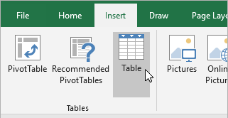 Insert tab, Table button