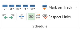 Link button in the Schedule group of the Task tab