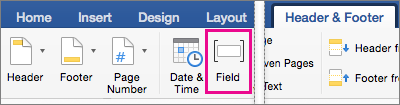 On the Header Footer tab, Field is highlighted