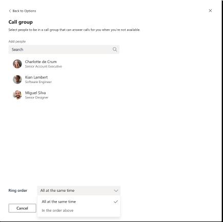 Call group dialog box