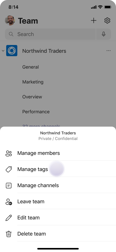 Manage tags in Teams using iOS