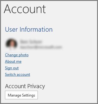 The Account panel showing the Account Prviacy, Manage Settings button