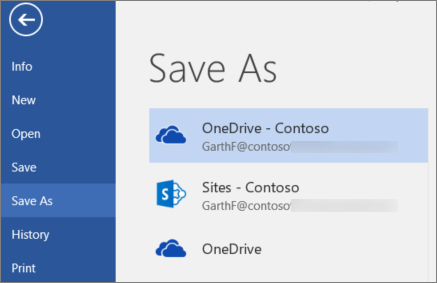 Saving a Word document to OneDrive for Business