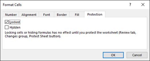Protection tab in the Format Cells dialog box