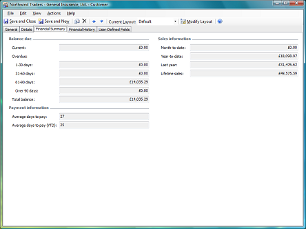 financial summary tab on customer form
