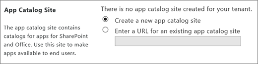 App catalog site dialog with Create a new app catalog site selected.