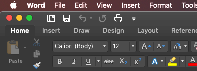 The Ribbon of Word for Mac in dark mode