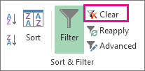 Clear a filter button