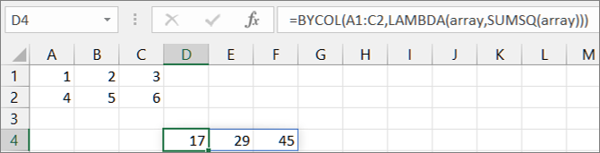 Second BYCOL function example
