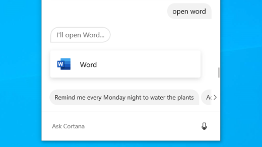 Open apps with Cortana in Windows