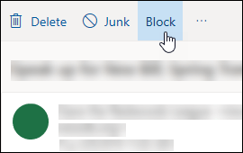 Outlook.com message Block option