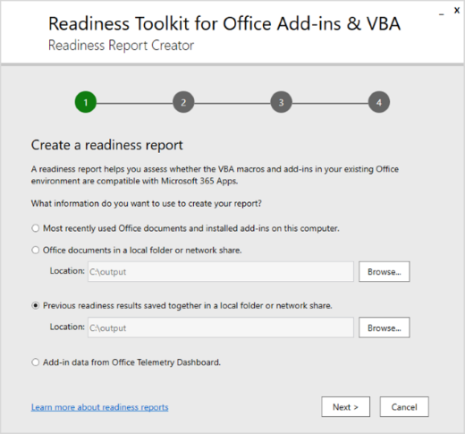 Screenshot of running ReadinessReportCreator.exe