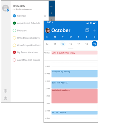 Side by side screens: list of calendars and day view with multiple calendars shown