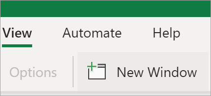 Shows New Window option in Excel