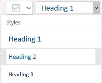 Headings list in OneNote for Windows 10 app