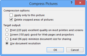 Compress Pictures options