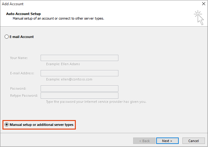 Outlook Add Account Manual setup or additional server types option