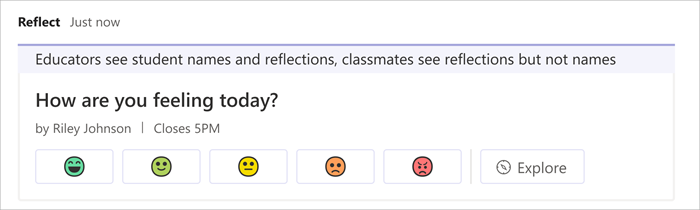 Screenshot showing the Reflect check-in as it appears in the channel. a range of emojis are available for students to choose