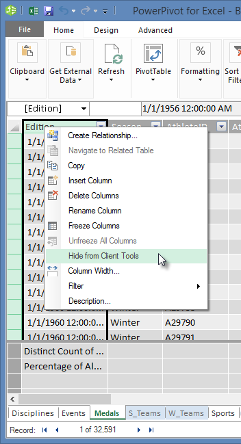 right-click to hide table fields from Excel Client Tools
