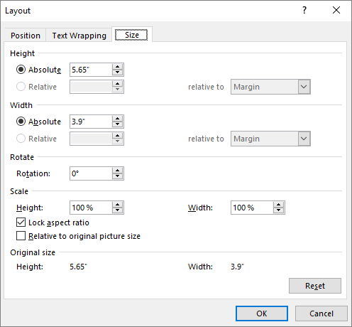Layout options Size tab