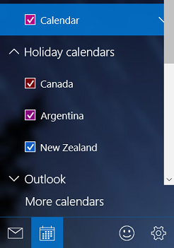 Add a holiday calendar in Windows 10