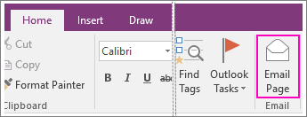 Screenshot of the Email Page button in OneNote 2016.