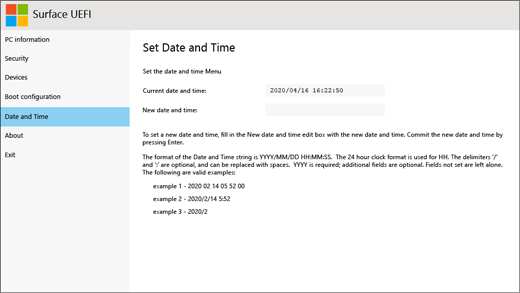 The date and time screen for Surface UEFI