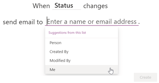Screenshot of finishing a rule to notify yourself when the Status column changes.