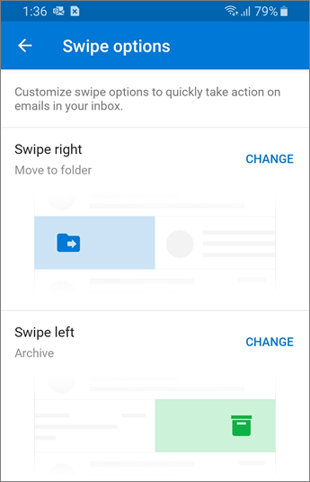 Setting Swipe options in Outlook mobile