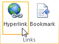 Hyperlink command on the ribbon